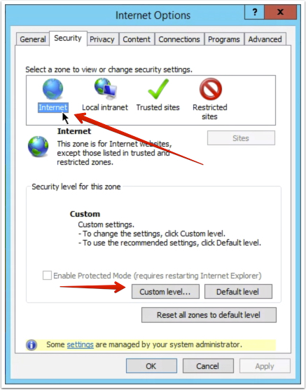 Step 11 - Apply the same settings from Steps 9 and 10 to Internet zone