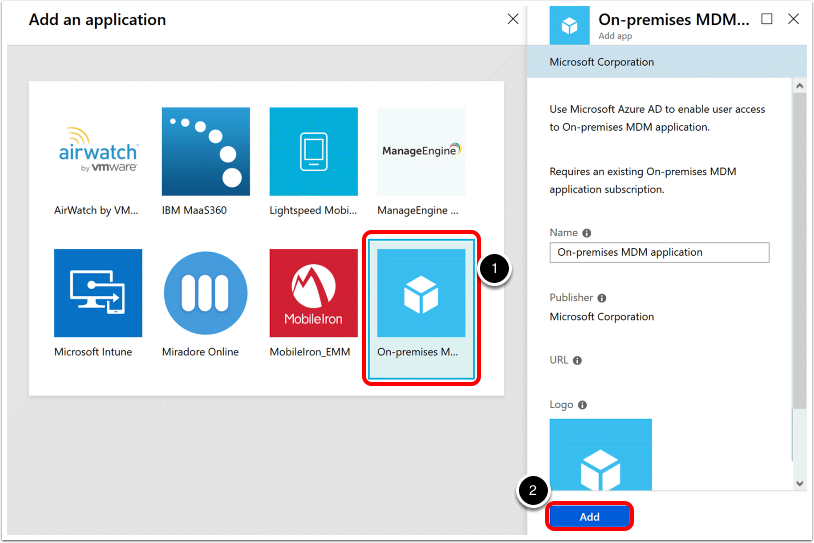 Select the On-Premises Application