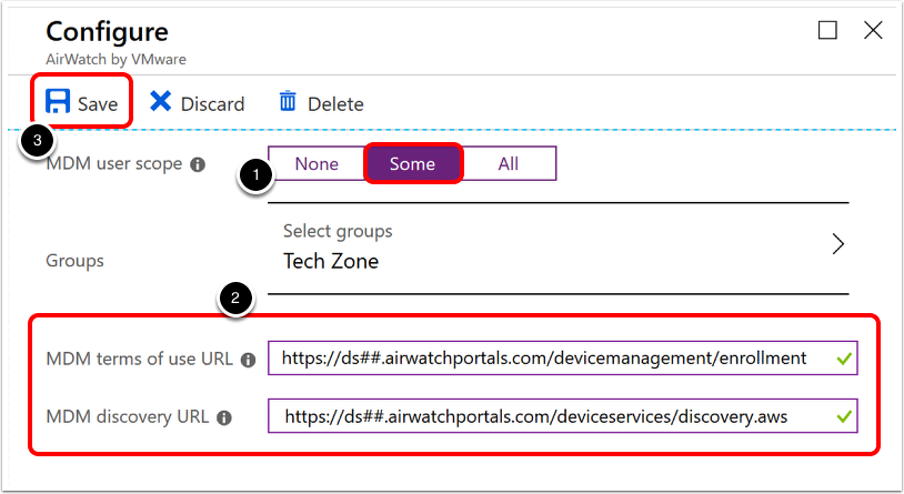Configure the Application for Automatic Enrollment to MDM with Workspace ONE UEM Details