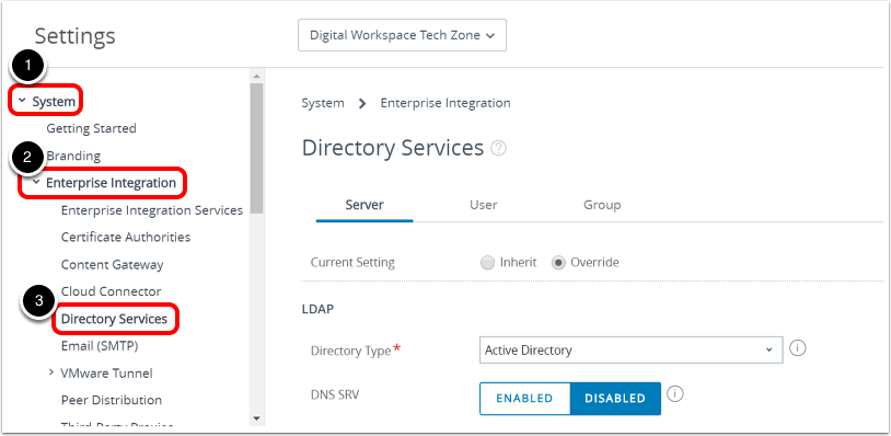 Navigate to Directory Services