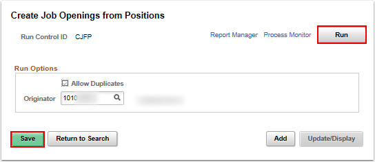 save and run from create jobs openings from positions page