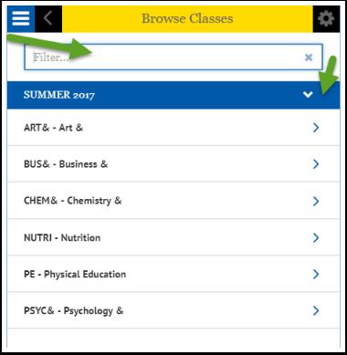 Browse Classes Search box