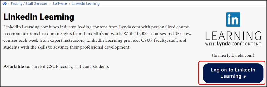LinkedIn Learning landing page