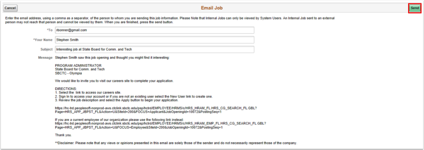 Email job page
