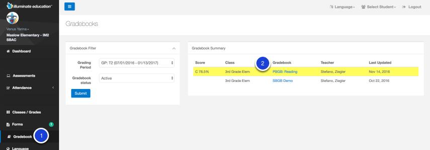 Portal Gradebook Navigation