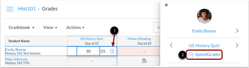 SpeedGrader from New Gradebook