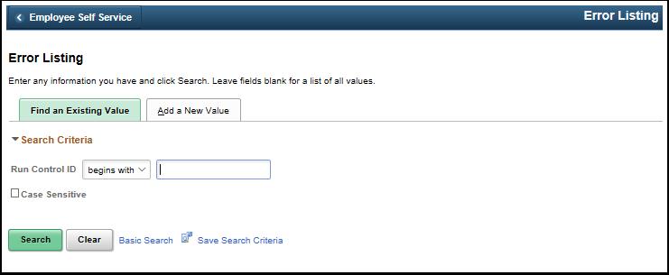 Error Listing run control search page