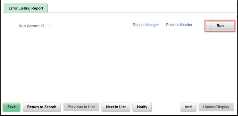 Error Listing Report