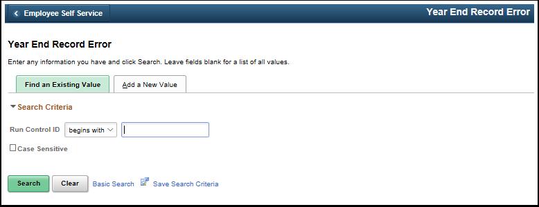 year end record error run control ID search page