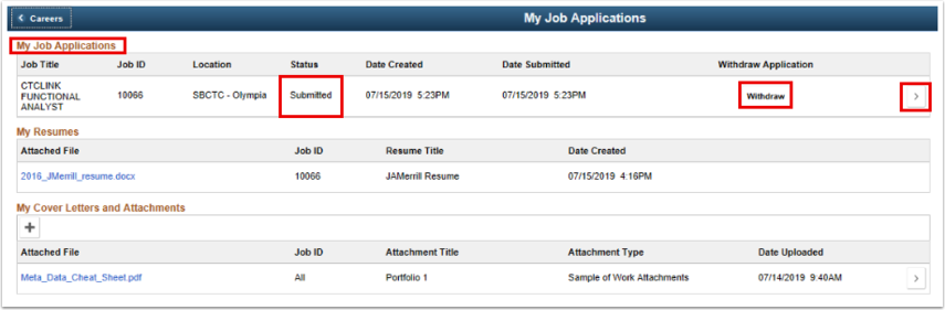 My Job Applications page