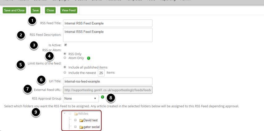 RSS Internal Edit Screen