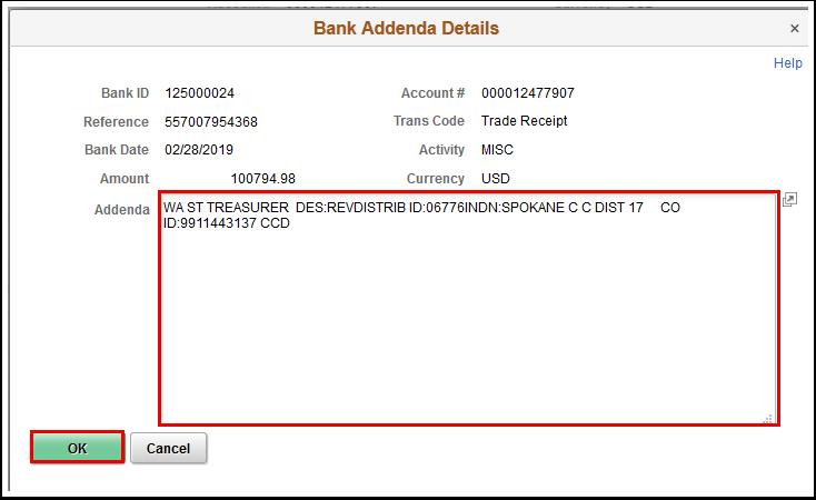 Bank Addenda Details window