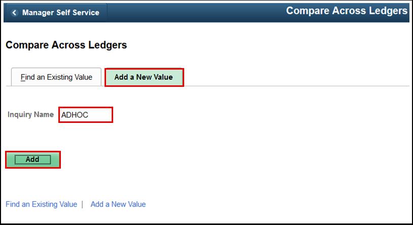 Compare Across Ledgers Add a Neew Value tab