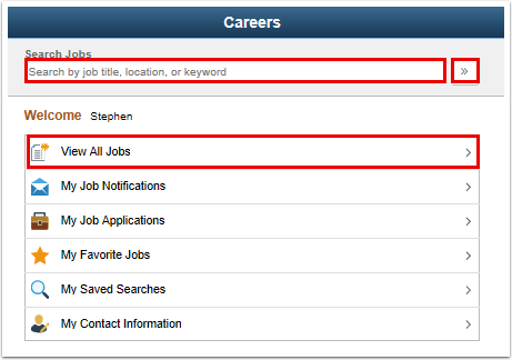 Careers page search for job
