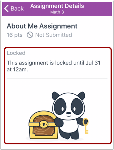 View Locked Assignment