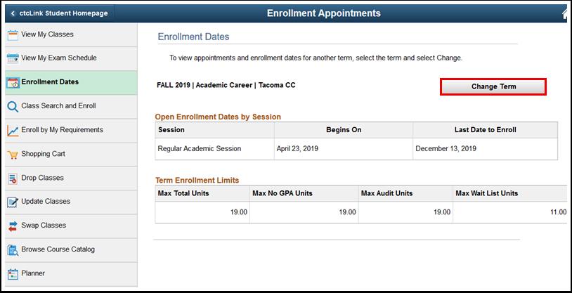 Enrollment Dates page