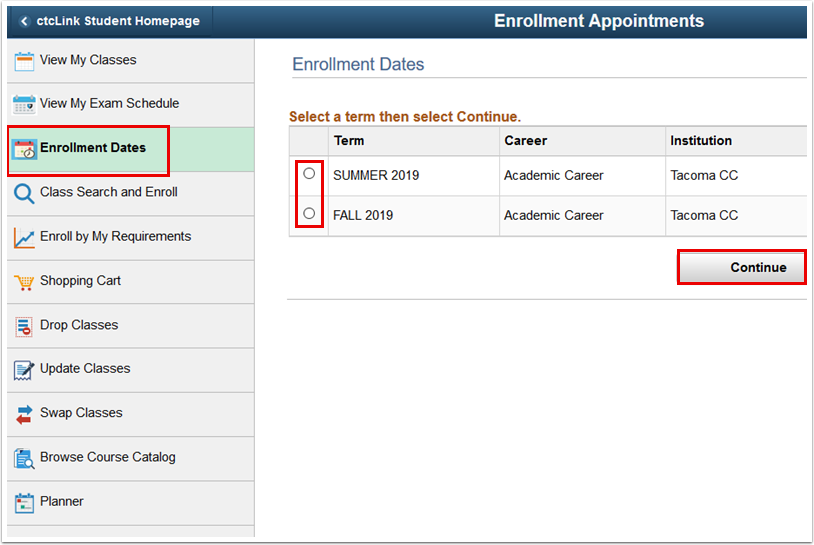 College Term Selector page
