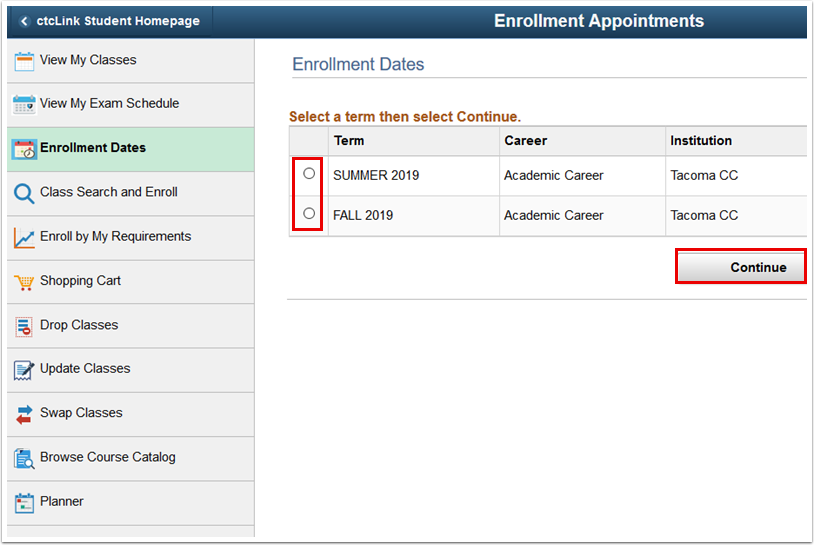 Term College Selection page