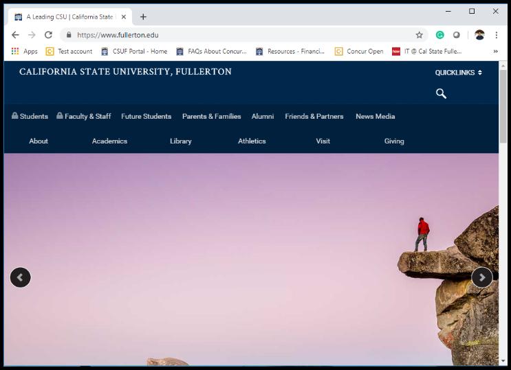 Cal State Fullerton Portal homepage.