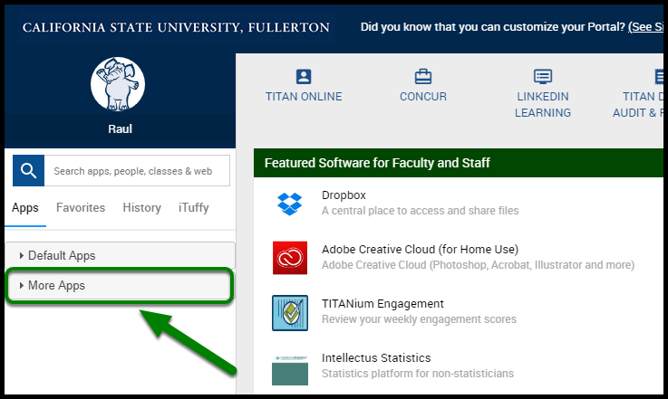 """Cal State Fullerton portal. There is a green arrow pointing towards the """"More Apps"""" option."""