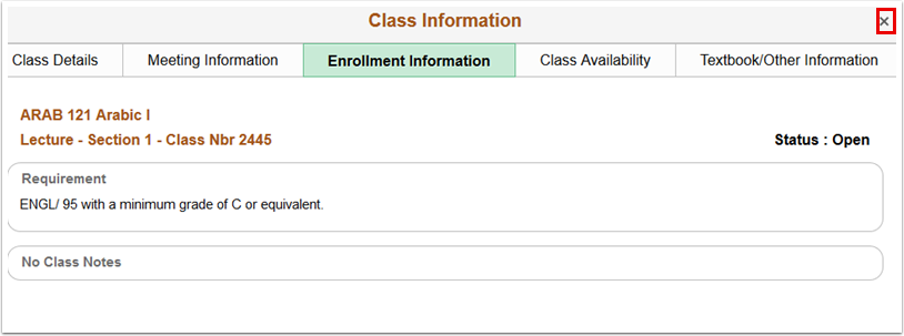 Class Information page