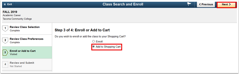 Step 3 of 4 Enroll or Add to Cart page