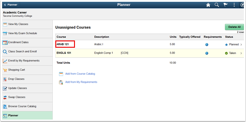 Unassigned Courses page