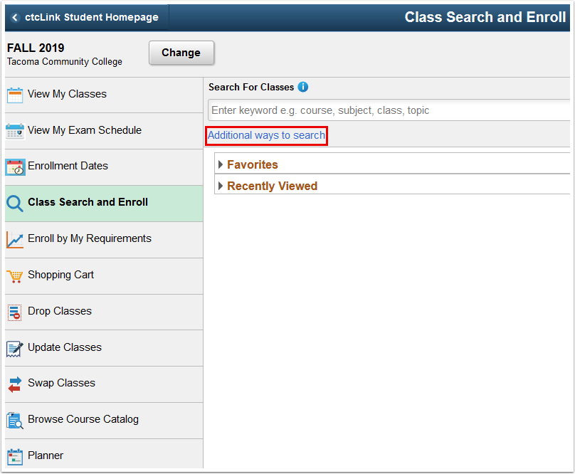 Class Search and Enroll page