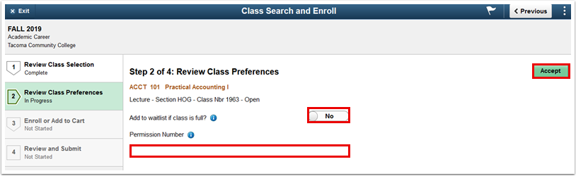Step 2 of 4 Review Class Preferences page