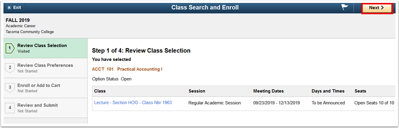 Step 1 of 4 Review Class Selection page