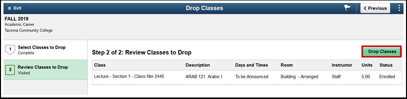 Drop Classes page