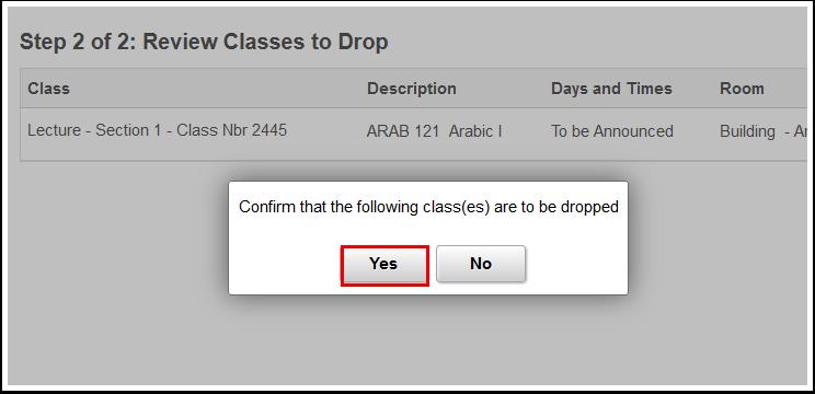 Confirmation window