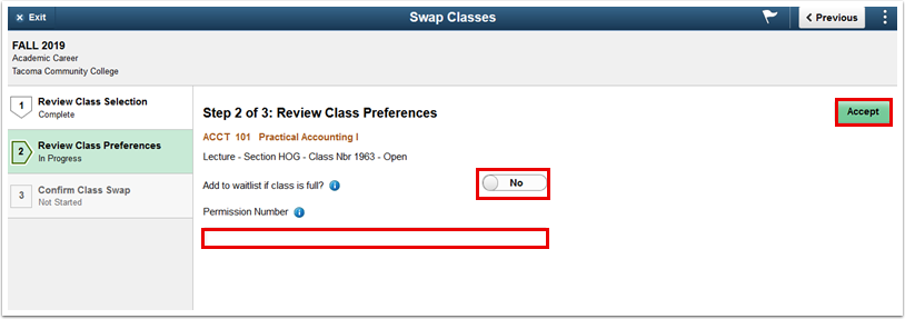 Step 2 of 3 Review Class Preferences page