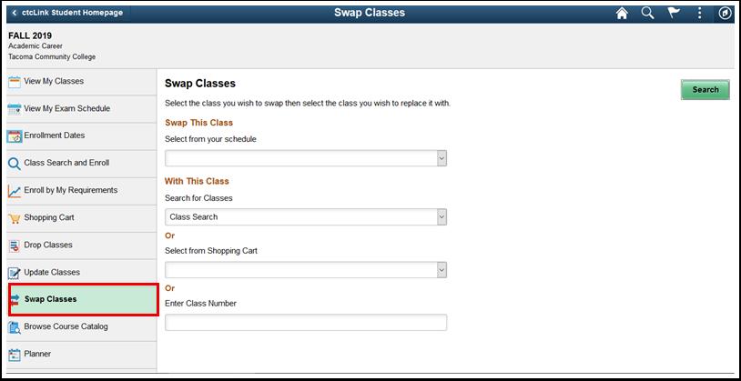 Manage Classes menu