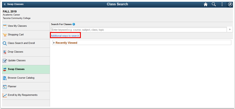Class Search page