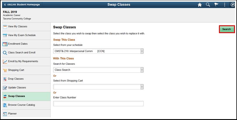 Swap Classes page