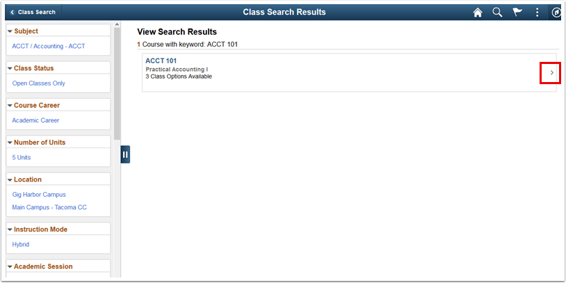 Class Search Results