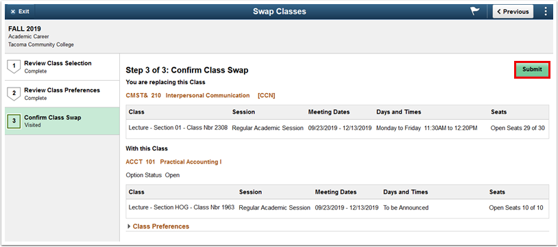 Step 3 of 3 Confirm Class Swap page