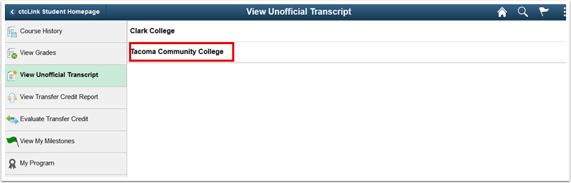 college selection page