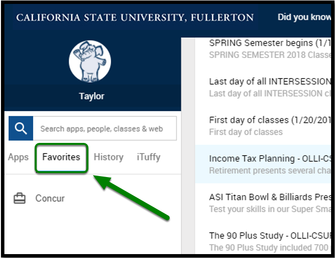 """Cal State Fullerton portal. There is a green arrow pointing towards the """"Favorites"""" option."""