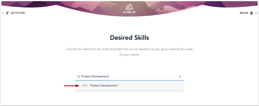 Desired Skills page showing the skill search bar and custom Add skill option