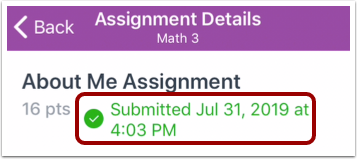 View Assignment Details Page