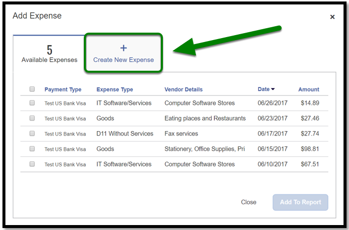 Under the Add Expense area, there is a green arrow pointing towards the Create New Expense tab.