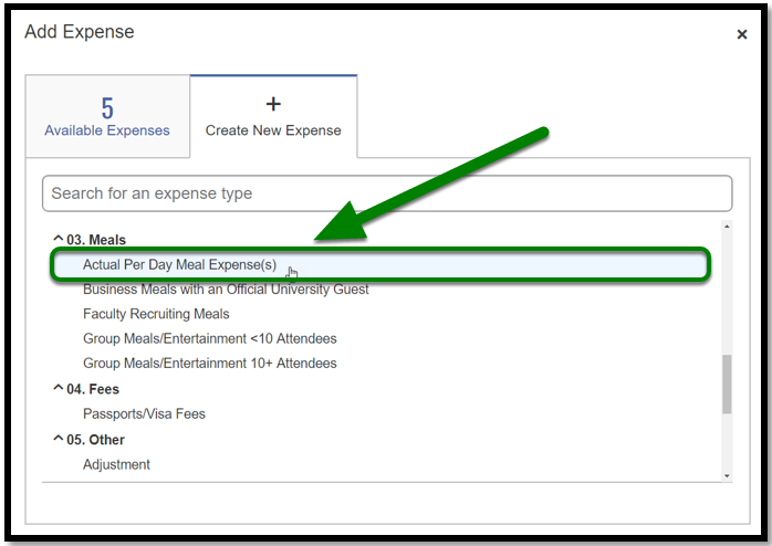 Under the Create New Expense tab, there is a green arrow pointing towards the Actual Per Day Meal Expense(s) option.