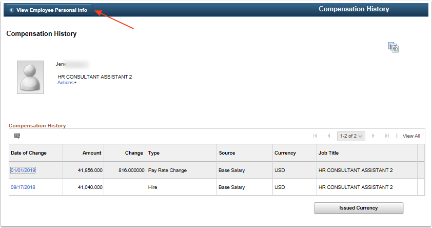 compensation history page view employee personal info button