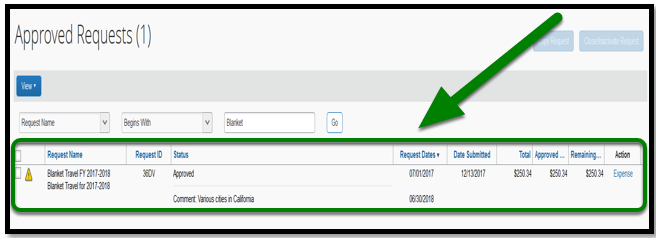 Approved requests field in concur. There is a blanket travel request that is highlighted.