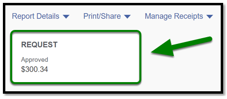 There is a request box listed under the Report Details. It is selected, and there is a green arrow pointing towards it.