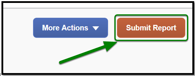 Zoomed in image of Submit Report button option. There is a green arrow pointing towards it.