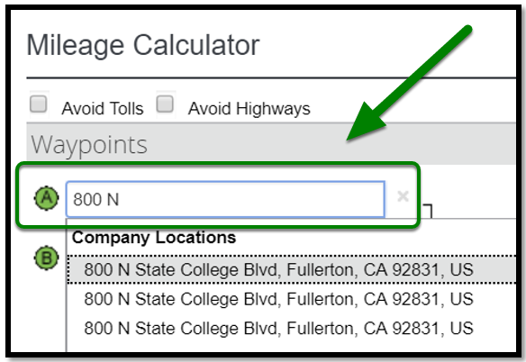 Personal Car Mileage Expense. Waypoints field. On point A, there is a location being typed in.