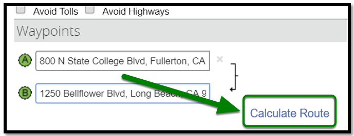 Personal Car Mileage Expense. Waypoints field. There is a green arrow pointing towards the Calculate route button on the lower right hand side.